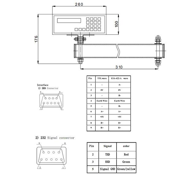 Bản vẽ chi tiết màn hình hiển thị Sinpo DROII-1G 600